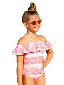 Sun Emporium Big Girls Indian Summer Pom Poms Ruffle One-Piece Swimsuit 8-12