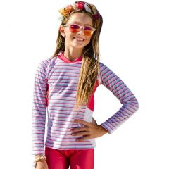 Sun Emporium Big Girls Coral Red Long Sleeve Rash Guard 8-12