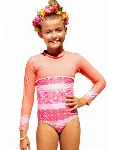 Sun Emporium Big Girls Indian Summer Print Long Sleeve Swimsuit 8-12