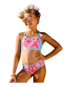 Sun Emporium Little Girls Coral Pink Gypsy Action Back Bikini 2 Pc Swimsuit 4-6