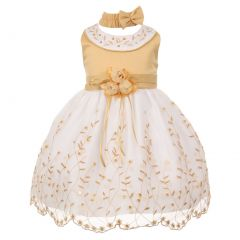 Little Girls Gold White Floral Jewel Easter Flower Girl Bubble Dress 2-4T