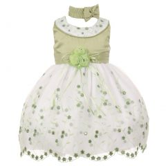 Baby Girls Sage White Floral Jeweled Easter Flower Girl Bubble Dress 3-24M