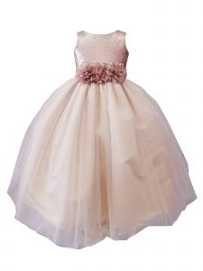 Sinai Kids Big Girls Champagne Sequin Tulle Junior Bridesmaid Dress 8-16
