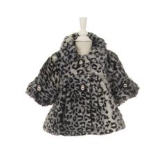 Little Girls Black White Leopard Pattern Faux Winter Swing Coat 6