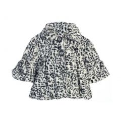 Little Girls Gray Leopard Pattern Faux Winter Swing Coat 2