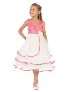 Chic Baby Little Girls Coral Taffeta Layered Flower Girl Easter Dress 2-6
