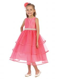 Chic Baby Big Girls Coral Organza Pearl Sash Flower Girl Dress 8-12