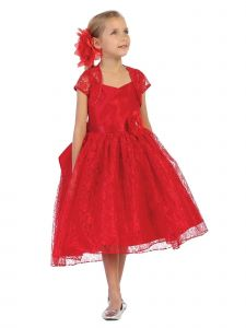 Chic Baby Little Girls Red Lace Hi-Low Special Occasion Jacket Dress 2-6