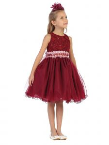 Big Girls Burgundy Glitter Sequin Lace Embroidered Christmas Dress 8-14