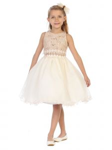 Chic Baby Big Girls Taupe Sequin Flower Adorned Junior Bridesmaid Dress 8-14