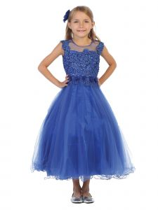 Chic Baby Big Girls Royal Blue Glitter Lace Tulle Junior Bridesmaid Dress 8-16