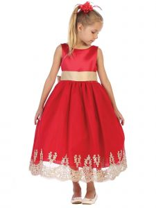 Big Girls Red Gold Embroidered Hem Stylish Sleeveless Christmas Dress 8-14