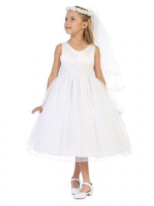 Big Girls White Sequin Crystal Tulle Tea Length Junior Bridesmaid Dress 8-16