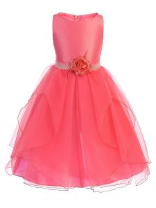 Chic Baby Big Girls Coral Overlaid Tea-Length Junior Bridesmaid Dress 8-14