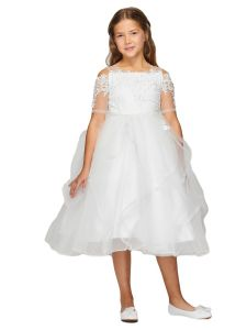 Girls Multi Color Pearl Lace Tea-Length Flower Girl Junior Bridesmaid Dress 2-16