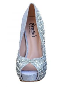 Sweetie's Shoes Womens Silver Cinderella Rhinestone Open Toe Dress Shoes 5-11