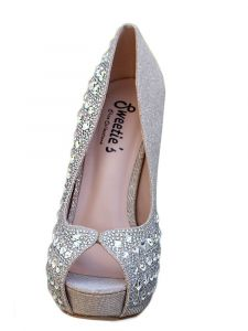 Sweetie's Shoes Womens Nude Cinderella Rhinestone Open Toe Dress Shoes 5-11