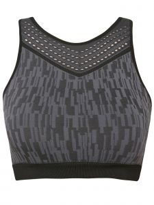 Climawear Womens Black Gray Print Athleisure High Neck Racerback Sports Bra S-L