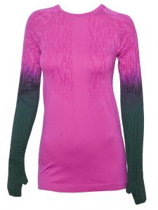 Climawear Womens Pink Green Jacquard Long Sleeve Activewear Top S-L