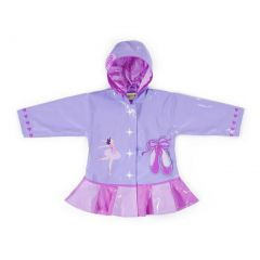 Kidorable Baby Girls Lilac Pink Ballerina Heart Hooded Rain Coat 12-18M