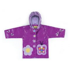 Kidorable Baby Girls Purple Butterfly Flower Hooded Rain Coat 12-18M