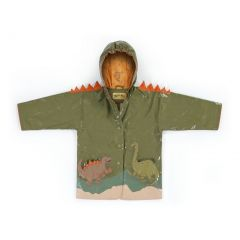 Kidorable Little Boys Brown Dinosaur Orange Spike Hooded Rain Coat 2T-6X