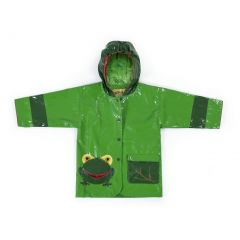 Kidorable Little Boys Green Two Tone Frog Pocket Hooded Rain Coat 2T-6X