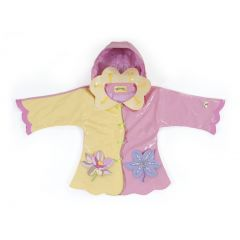 Kidorable Little Girls Yellow Lotus Flower Pockets Hooded Rain Coat 6X