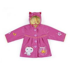 Kidorable Little Girls Pink Lucky Cat Pockets Ears Hooded Rain Coat 2T-6X