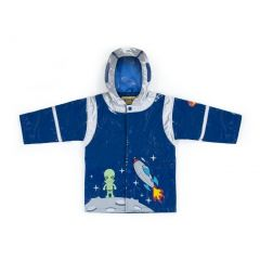 Kidorable Baby Boys Blue Rocket Pocket Space Hero Hooded Rain Coat 12-18M