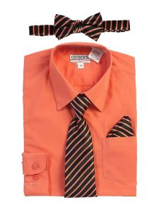 Gioberti Big Boys Coral Shirt Necktie Bow Tie Pocket Square 4 Pc Set 8-18