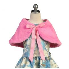 Angels Garment Big Girls Hot Pink Faux Wrap Shoulder Bow Collar Cape 7-10