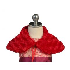 Angels Garment Big Girls Red Short Faux Shoulder Collar Cape 7-10