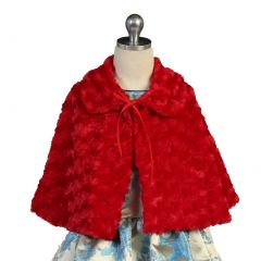 Angels Garment Baby Girls Red Faux Wrap Bow Closure Collar Cape 24M-4T