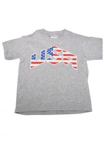 "Unisex Little Kids Grey Red Blue American Flag ""USA"" Printed T-Shirt 2T-5"