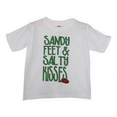 "Unisex White Green ""Sandy Feet Salty Kisses"" Print Cotton T-Shirt 6-16"