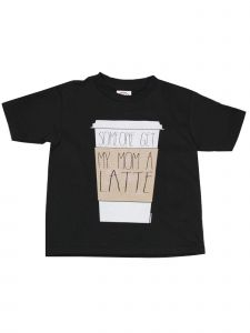 "Unisex Black ""Someone Get My Mom A Latte"" Printed Cotton T-Shirt 6-16"