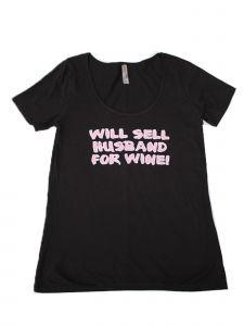 "Women Black ""Will Sell Husband For Wine"" Print Short Sleeved T-Shirt S-XXL"