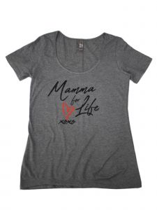 "Women Gray Black ""Mamma For Life"" Print Short Sleeved Trendy T-Shirt S-XXL"