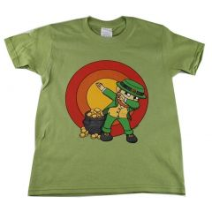 Big Kids Unisex Green Dab Leprechaun Print Short Sleeve T-Shirt 6-16