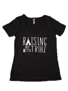 "Women Black White ""Raising My Tribe"" Print Short Sleeved Trendy T-Shirt S-XXL"