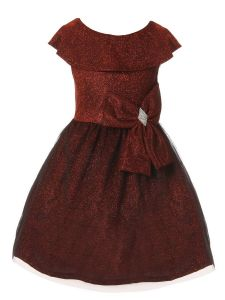 Just Kids Girls Multi Color Velvet Glitter Tulle Christmas Dress 4-14