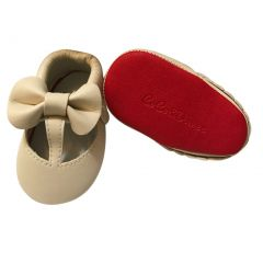 Baby Girls Cream Red Cutout Bow Soft Sole Faux Leather Crib Shoes 3-18M