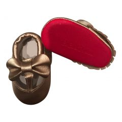 Baby Girls Gold Red Cutout Bow Soft Sole Faux Leather Crib Shoes 3-18M