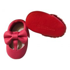 Baby Girls Hot Pink Red Cutout Bow Soft Sole Faux Leather Crib Shoes 3-18M