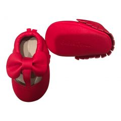 Baby Girls Red Cutout Bow Soft Sole Faux Leather Crib Shoes 3-18M