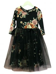 Petite Adele Girls Black Floral Print Bow Accent Overlaid Christmas Dress 2T-8