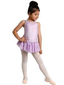 Danshuz Girls Lace Overlay Tank Style Dance Leotard Dress 2-10