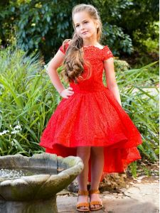 TriumphDress Big Girls Red Off-Shoulder Hi-Low Darling Flower Girl Dress 7/8