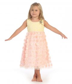Angels Garment Little Girls Yellow Coral Pink Lace Floral Mesh Easter Dress 6